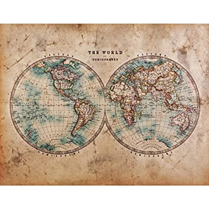 PB Mid S Old World Map Of Western Eastern Hemispheres Canvas - 1800s world map