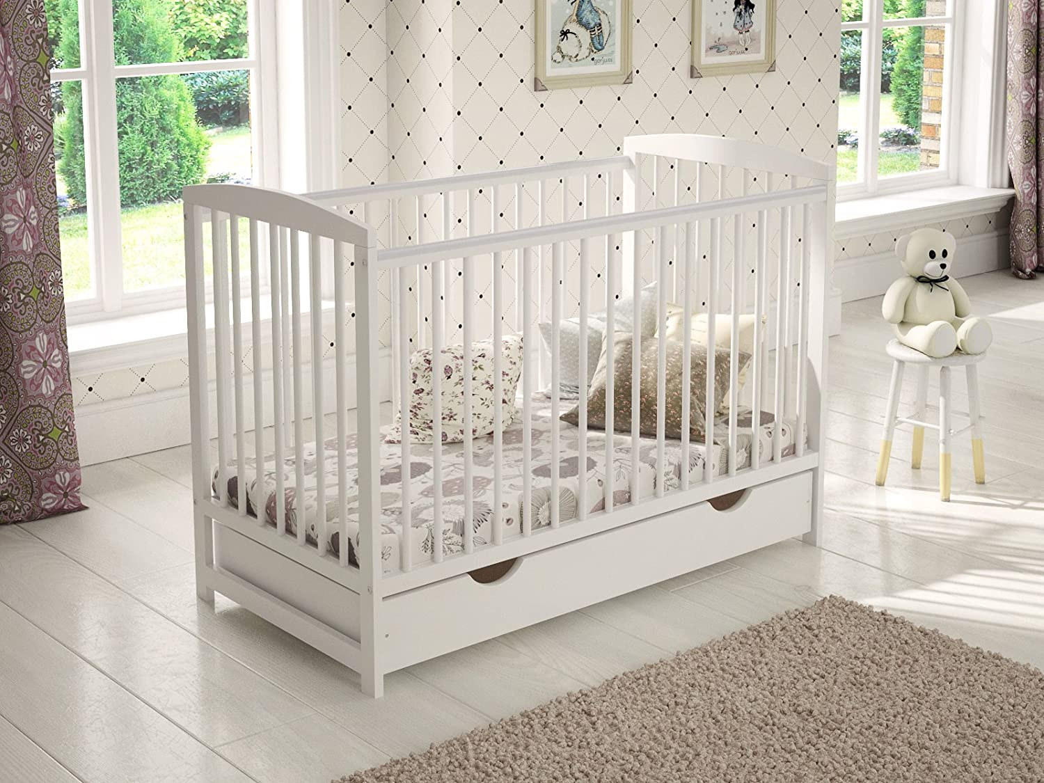 Grey Wooden Baby Cot with Drawer 120x60cm + Foam Mattress + Safety Wooden Barrier + Teething Rails loveforsleep