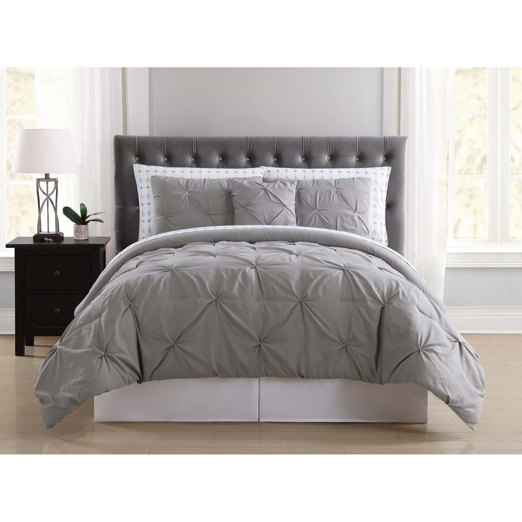 Truly Soft Everyday BIB1969GYKAR-32 Pleated Bed in a Bag, King, Arrow Grey by Truly Soft Everyday