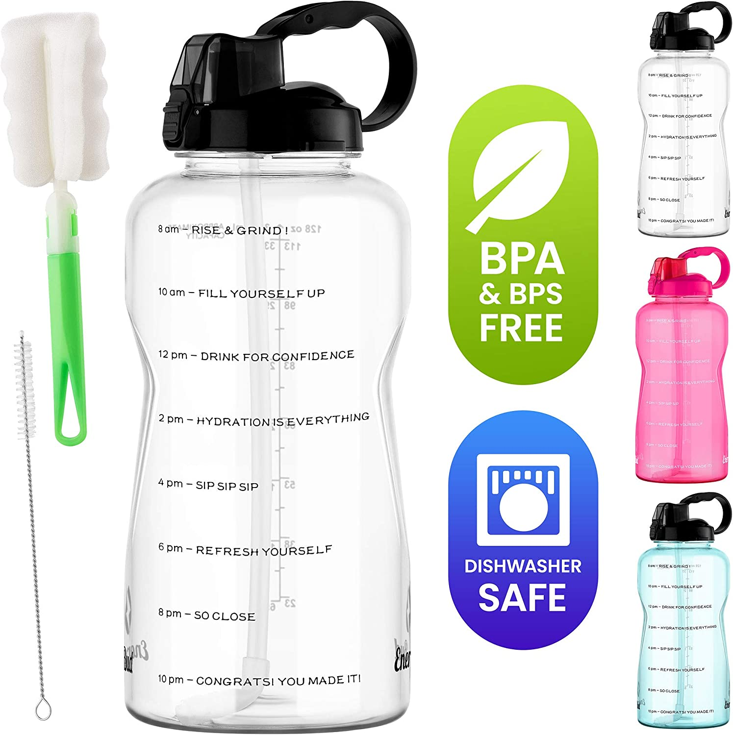 Energybud 1 Gallon Water Bottle With Straw And Handle Dishwasher Safe Bps Bpa Free 2 Cleaning Brush Motivational 128oz Water Jug With Time Markers Dust Cover Wide Mouth Tritan Gym