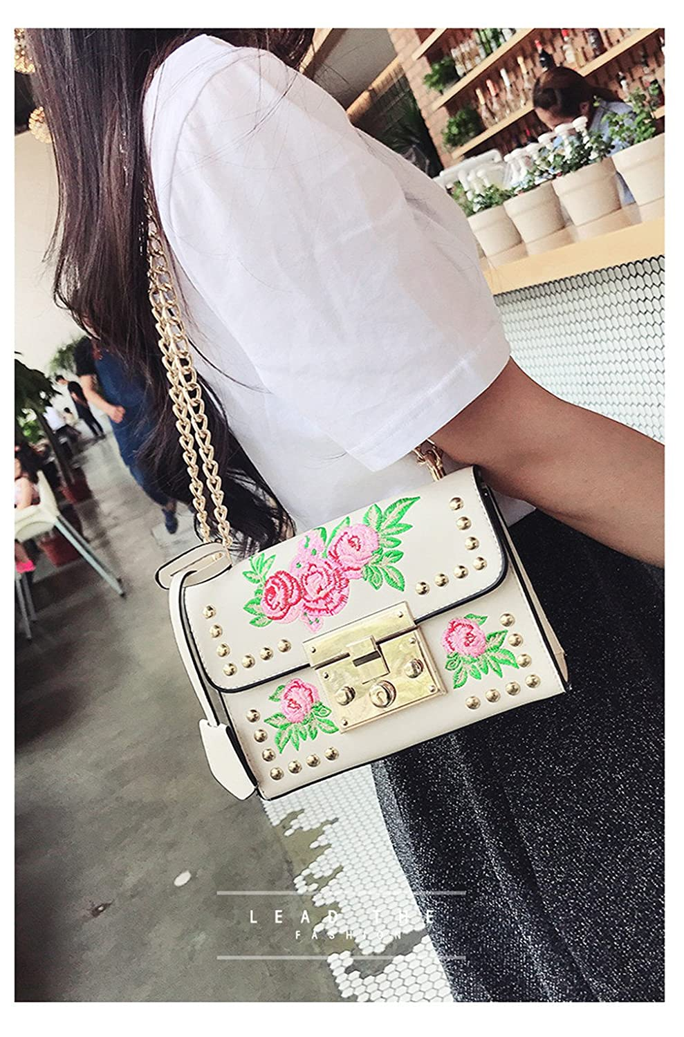 Amazon.com: Women Embroidery Flower Flap Bag PU Leather Rivet Messenger Bags Ladies Small Shoulder Bag brown: Clothing