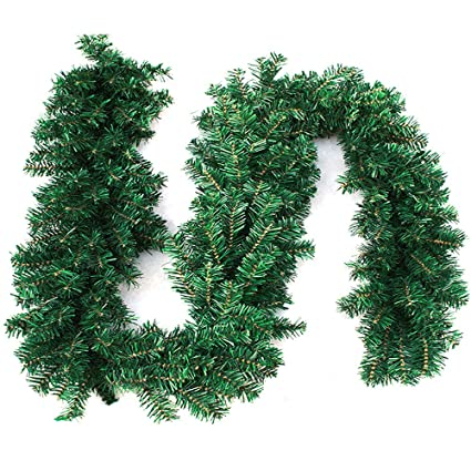 cherry juilt 9 feet christmas garland decorations outdoor indoor artificial pine wreath xmas decorations for wall - How To Decorate Outdoor Stairs For Christmas