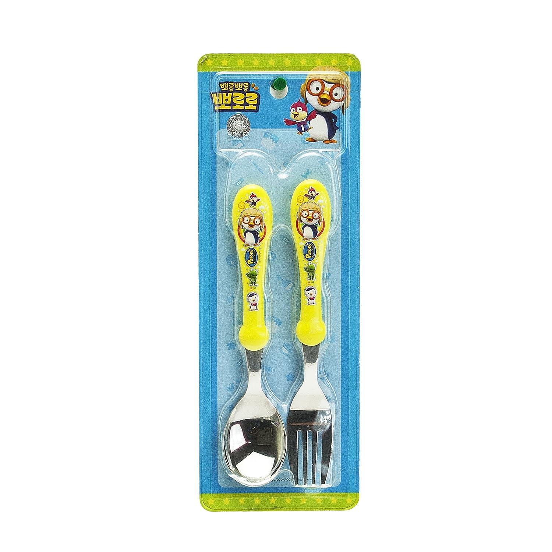 Amazon.com: Pororo Acero Inoxidable Cuchara y Tenedor Set: Baby