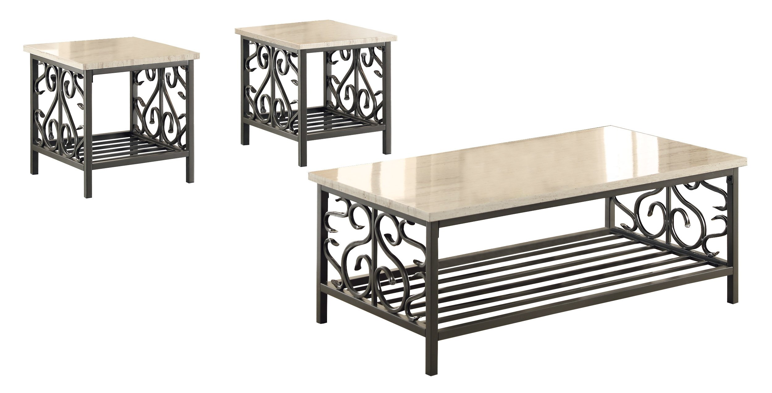 Homelegance Fairhope 3-Piece Faux Marble Occasional Table Set, White by Homelegance