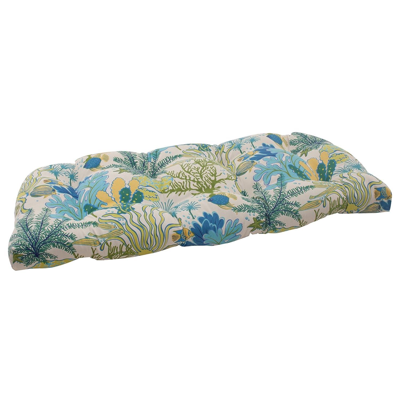 Pillow Perfect Outdoor Splish Splash Wicker Loveseat Cushion, Blue