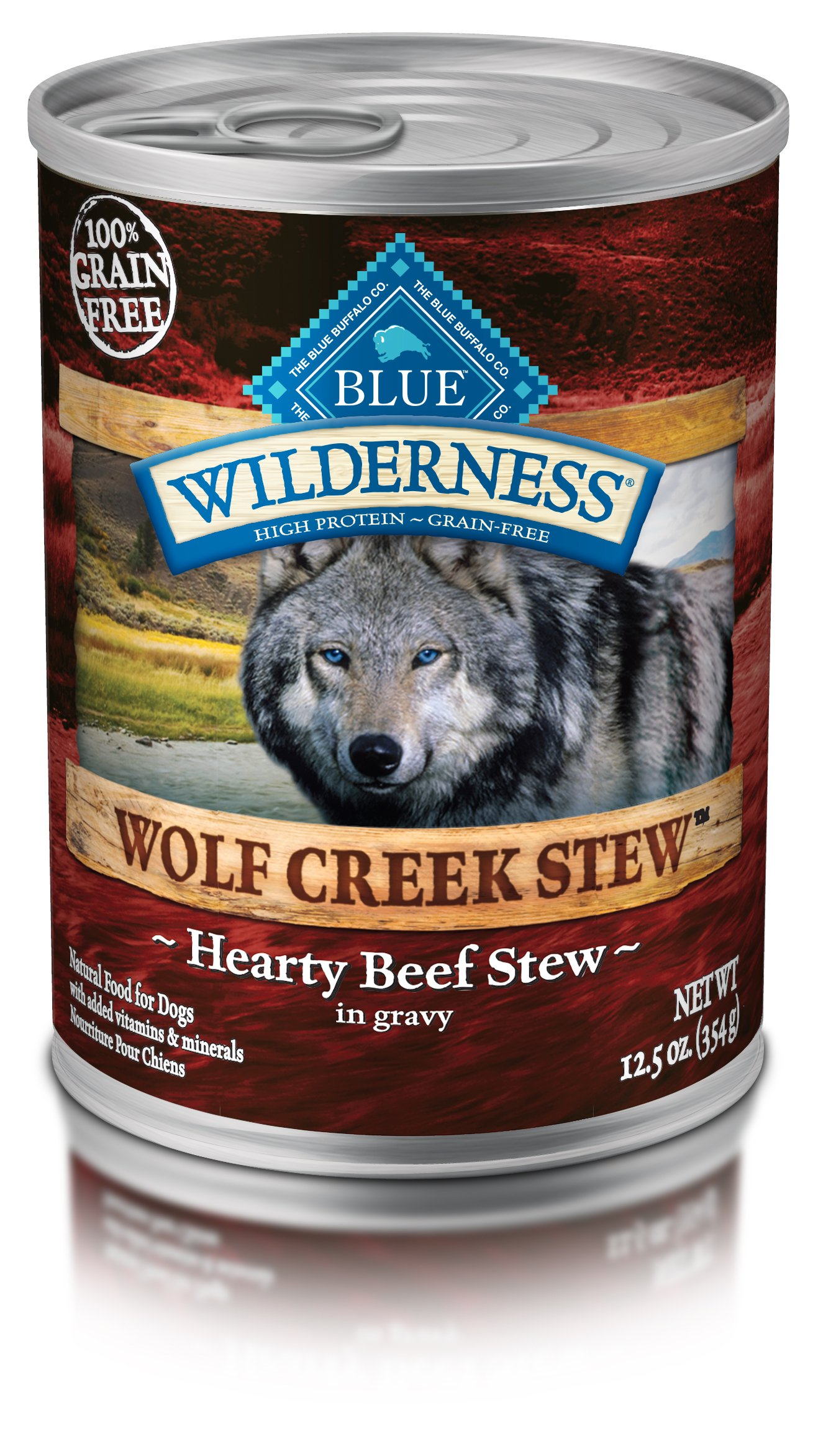 Blue Buffalo Wilderness Wolf Creek Stew High Protein Grain Free, Natural Wet Dog Food, Hearty Beef Stew In Gravy 12.5-Oz Can (Pack Of 12) by Blue Buffalo