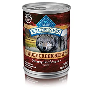 Blue Buffalo Wilderness Wolf Creek Stew High Protein Grain Free Natural Wet Dog Food, 12.5-oz cans (Pack of 12)