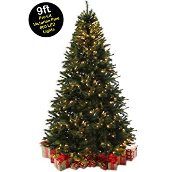 9ft 27m victorian pine prelit christmas tree with 800 warm white