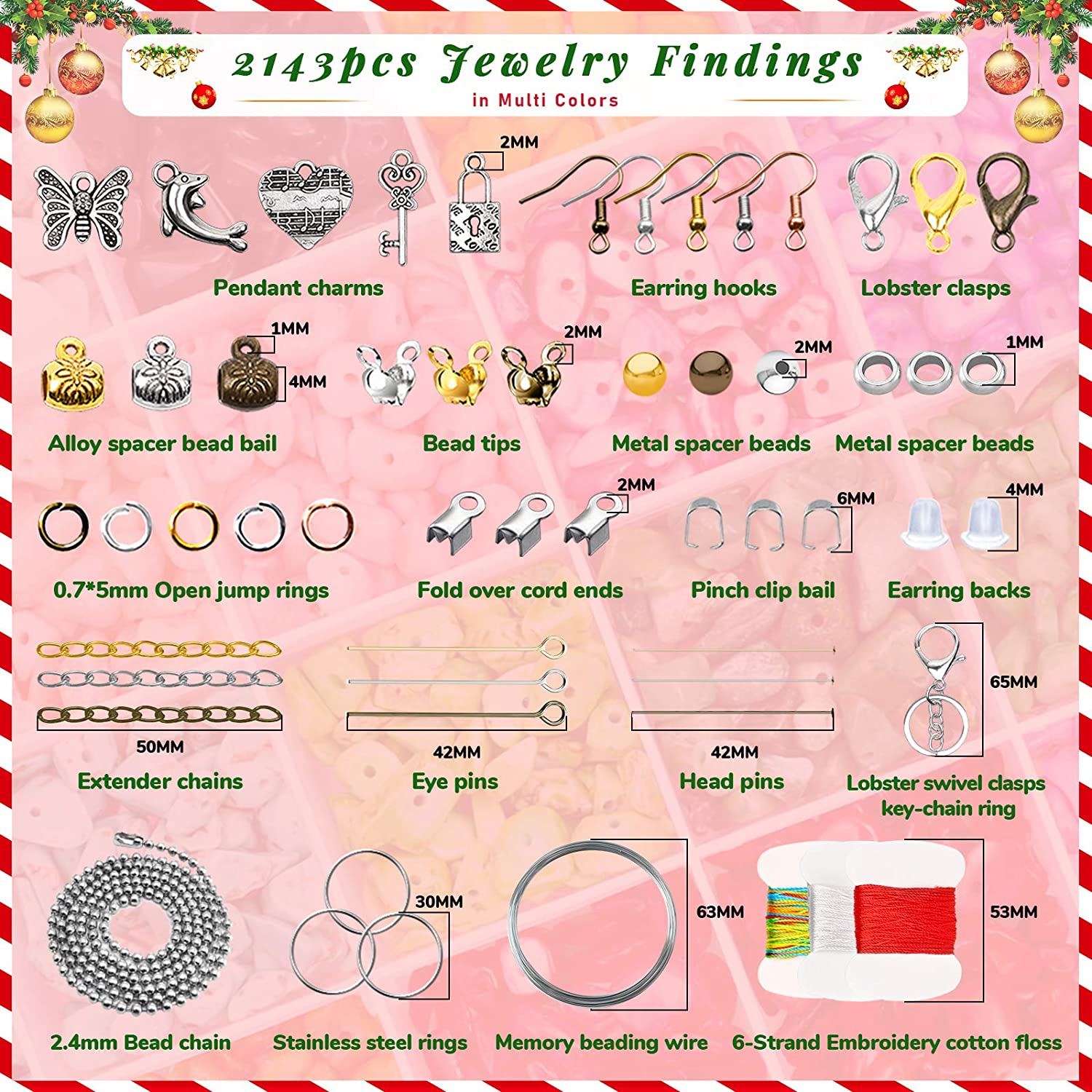 Yholin 4049pcs Irregular Gemstone Beads Kit,24 Styles Natural Crystal Chips Stone Beads with Glass Beads Pearl Earring Hooks Head Pins Beading String Wire Tools for Earring Bracelet Jewelry Making