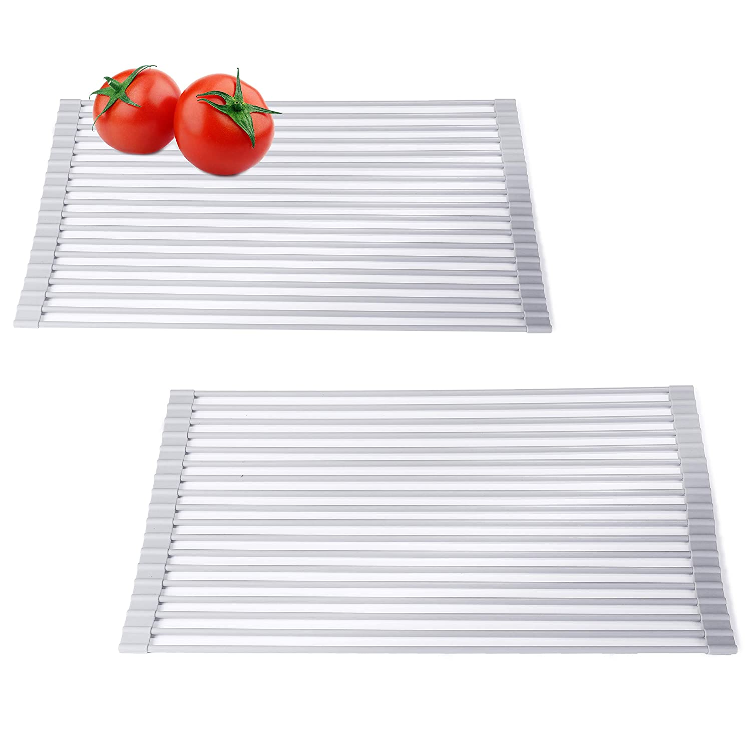MyGift Silicon-Coated Over-the-Sink Roll-Up Dish Drying /& Vegetable Washing Racks Set of 2