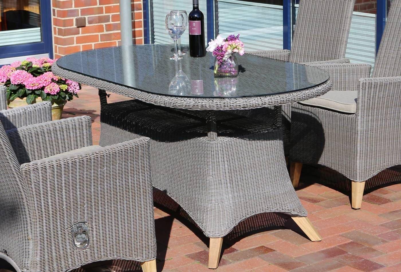 Gartentisch Destiny Harper Island 165x90 Oval Esstisch Polyrattan Geflechttisch