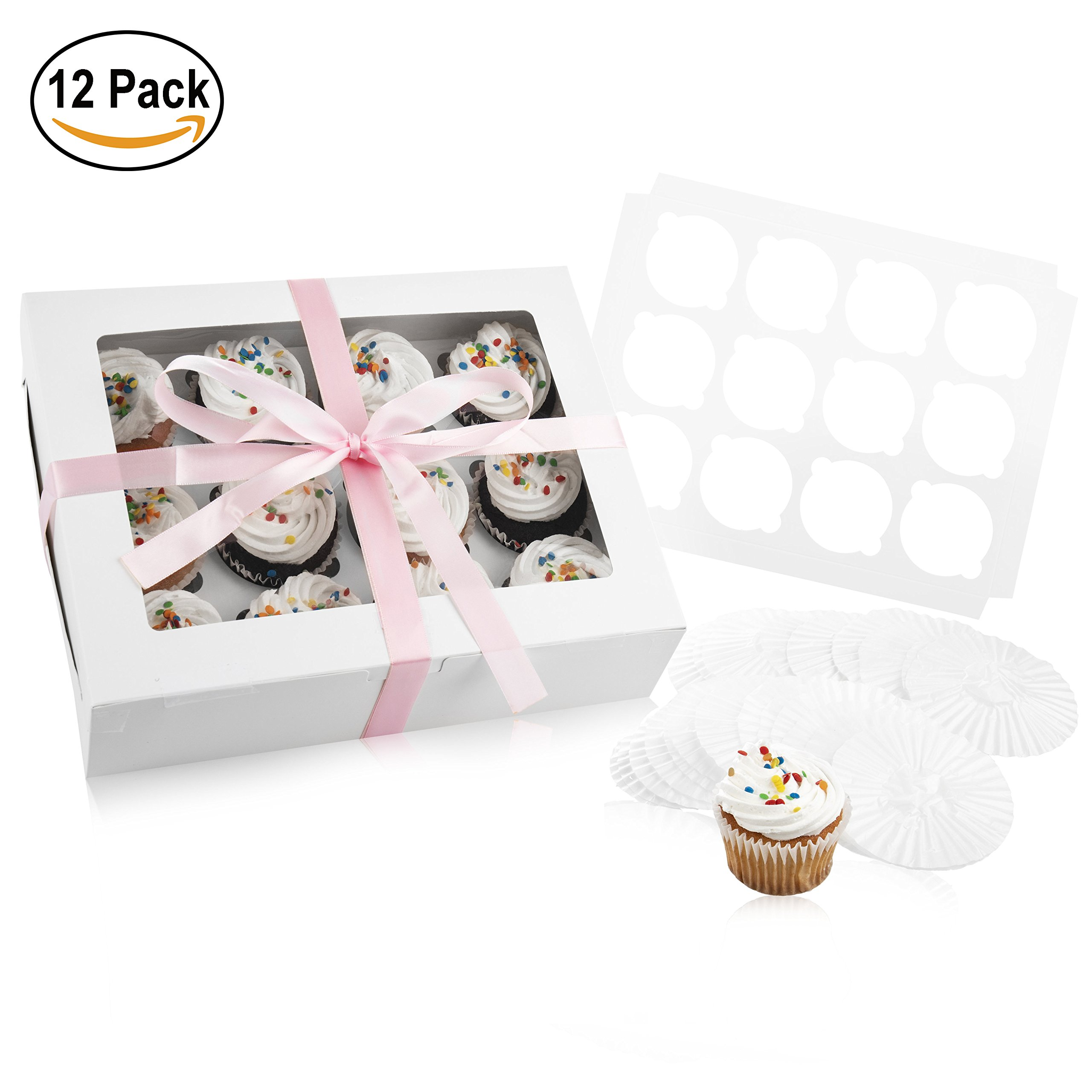 Disposable Cupcake Holder Bakery Box: 12 Treat Carrier & Storage Boxes with Clear Window & 12 Inserts or Holders for a Dozen Standard Cupcakes - Includes 50 Cup Cake Baking Cups & Ribbon