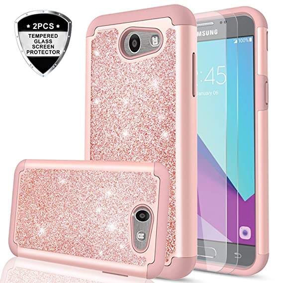 buy popular 56e45 e26d1 LeYi PC Silicone Glitter Case with Tempered Glass Screen Protector for  Samsung J3 Prime/ J3 Emerge/ Express Prime 2/ Amp Prime 2/ J3 Mission/ J3  ...