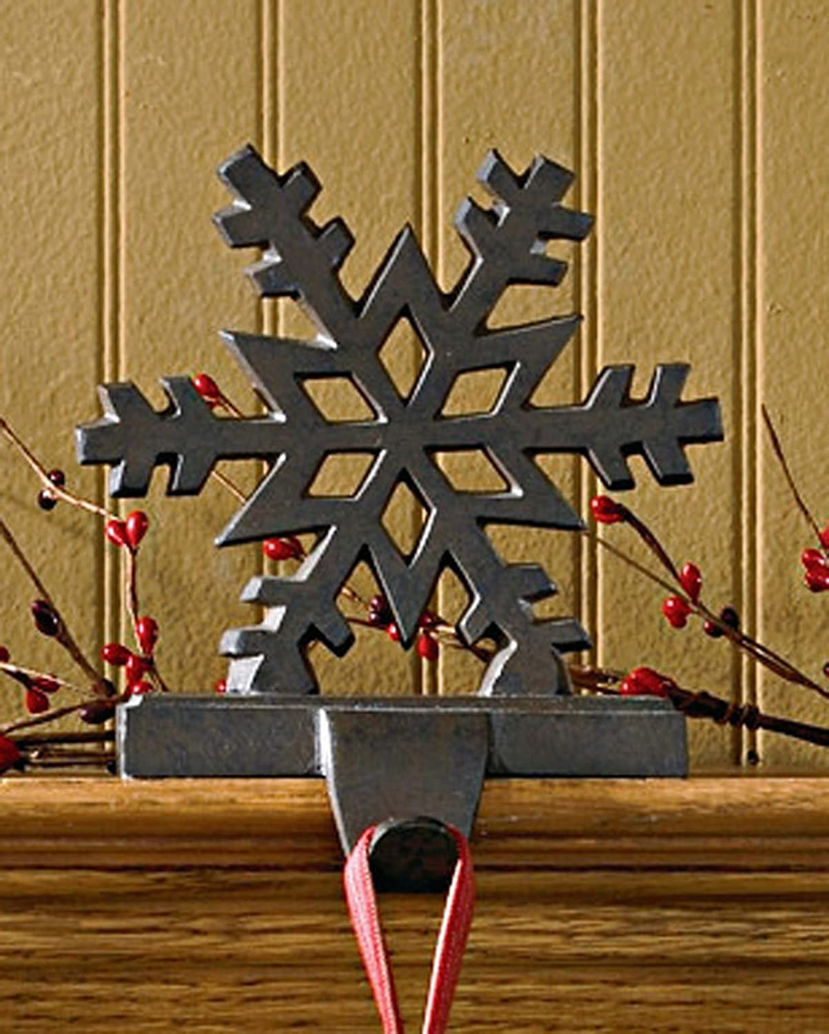 amazon com iron snowflake stocking hanger home u0026 kitchen