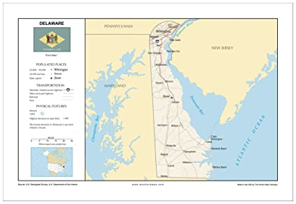 Amazon.com : 13x19 Delaware General Reference Wall Map - Anchor Maps ...