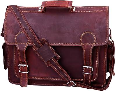 Men/'s Genuine Vintage Leather Messenger Laptop Briefcase Women Satchel Brown Bag
