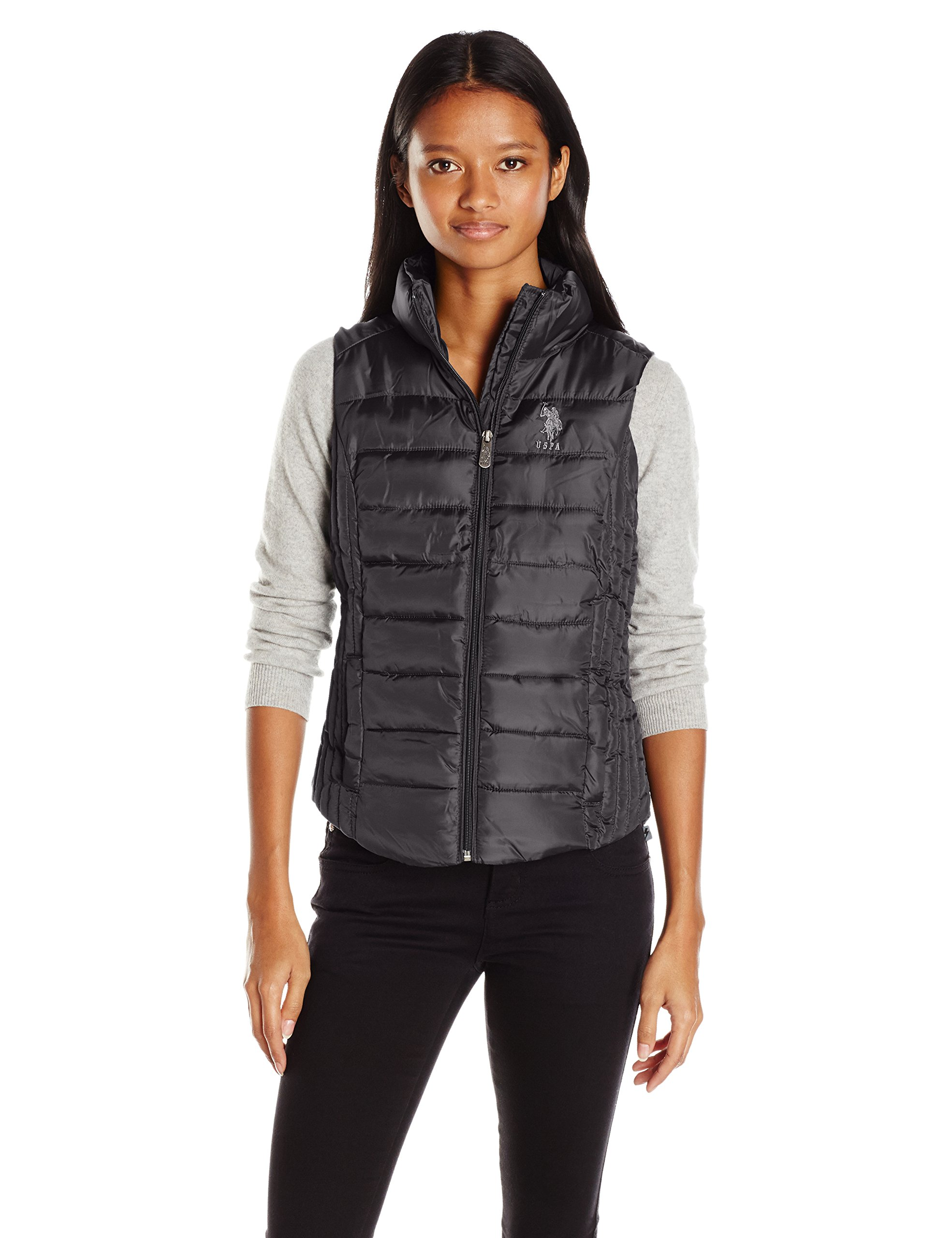 U.S. Polo Assn. Women's Puffer Vest, Black, L