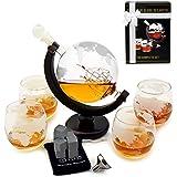 Whiskey Decanter Set - Globe Glasses - Housewarming Gifts -Scotch Gift Set - Globe Decanter for Whisky, Scotch and Liquor - 30oz Liquor Decanter Set - Whiskey Decanter - Glass Decanter with Gift Box