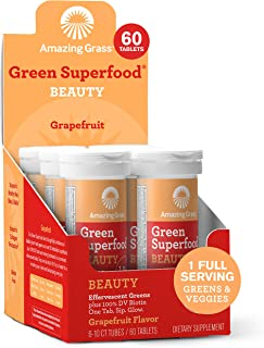 product image for Amazing Grass Effervescent Beauty Tablets: Greens + Biotin, Water Flavoring Tablets with Antioxidants, Grapefruit, 60 count