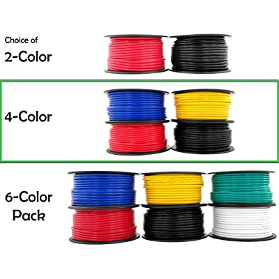 12 Gauge Copper Clad Aluminum Low Voltage Primary Wire 4 Color Combo 100 ft per Roll (400 feet Total) for 12V Automotive Trailer Light Car Audio Stereo Harness Wiring (Also in 2 or 6 Color Combo): Automotive