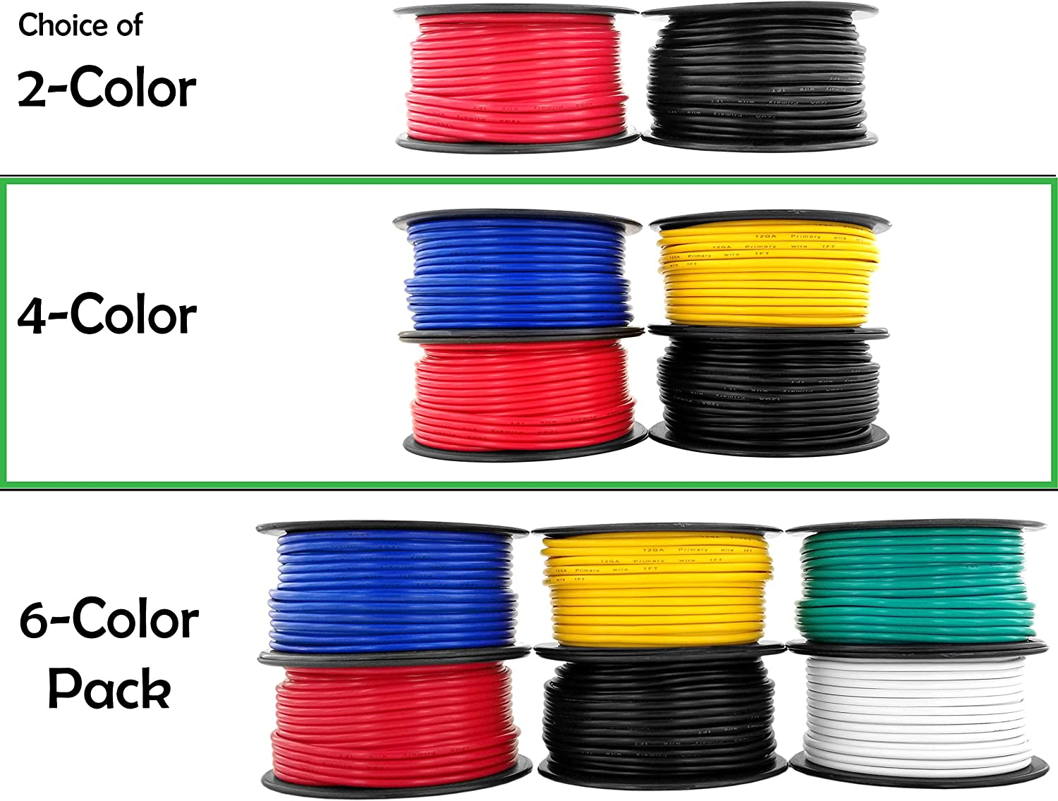 for 12V Automotive Trailer Light Car Audio Stereo Harness Wiring Also in 2 or 4 Color Combo 12 Gauge Copper Clad Aluminum Low Voltage Primary Wire 6 Color Combo 100 ft per Roll 600 feet Total