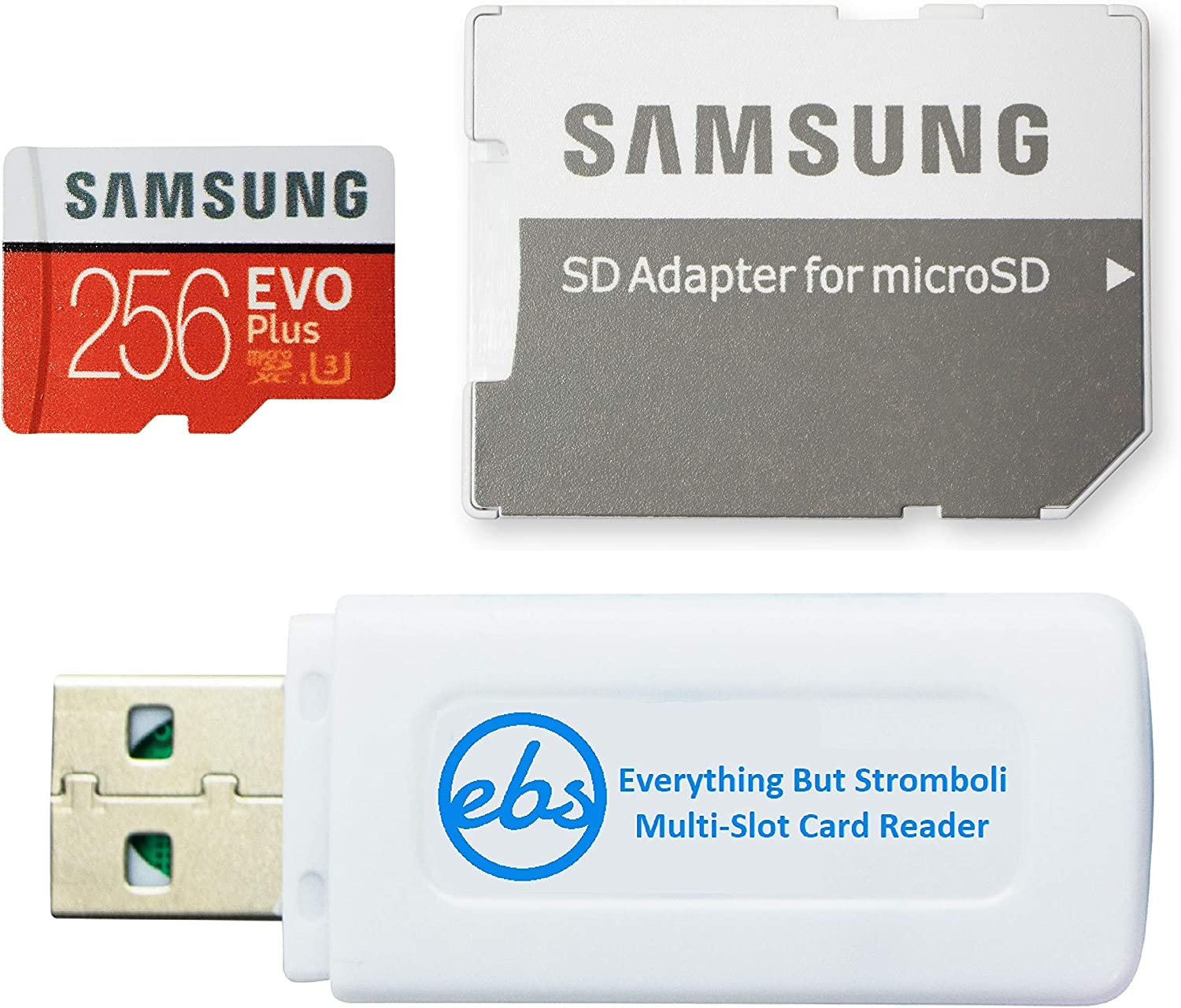 Samsung 256GB Micro SDXC EVO+ Plus Memory Card for Samsung Phone Works with Galaxy S20, S20+, S20 Ultra 5G, S10 Lite Phone (MB-MC256GA) Bundle with (1) Everything But Stromboli MicroSD Card Reader