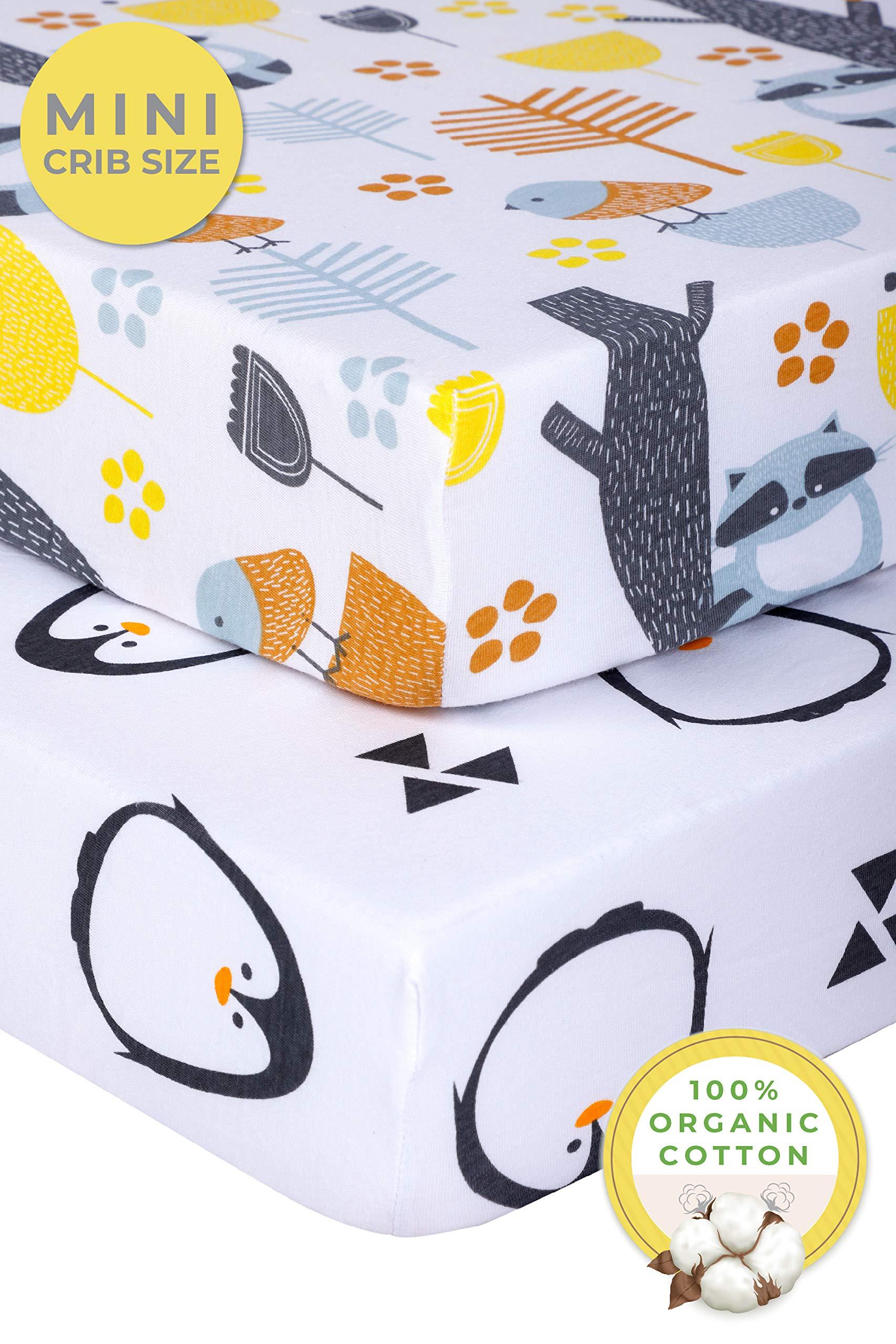 Pickle & Pumpkin Mini Crib Sheet Set | 2 Pack Pack N Play Sheets in 100% Organic Jersey Cotton | Girls & Boys | Ideal as Pack and Play Mattress, Playpen, Playard Sheets | Penguin & Woodland by Pickle & Pumpkin