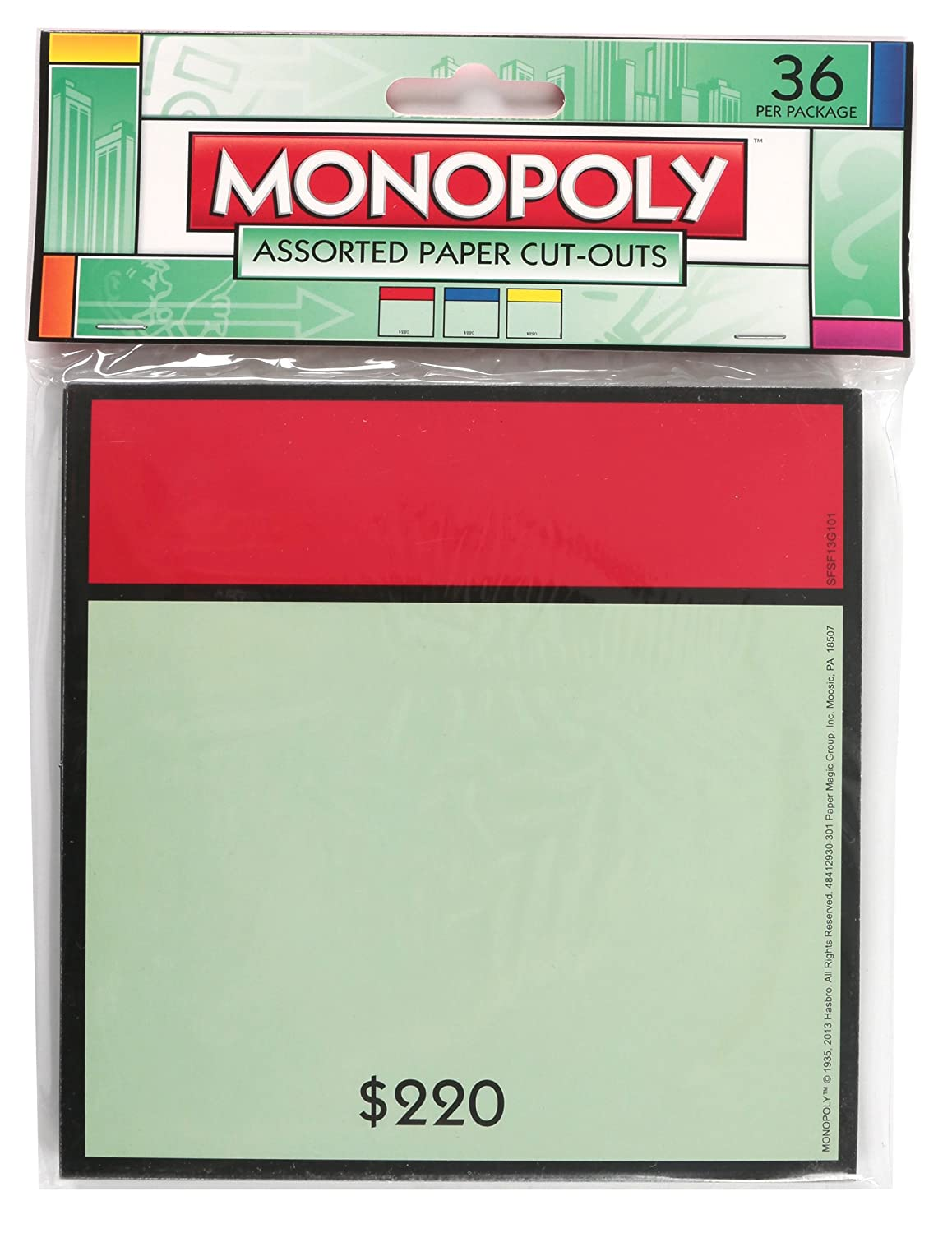 Paper Magic 841293 Eureka Monopoly Assorted Paper Cut-Outs, 12 Each of 3 Different Designs, 36-Pieces Paper Magic Group