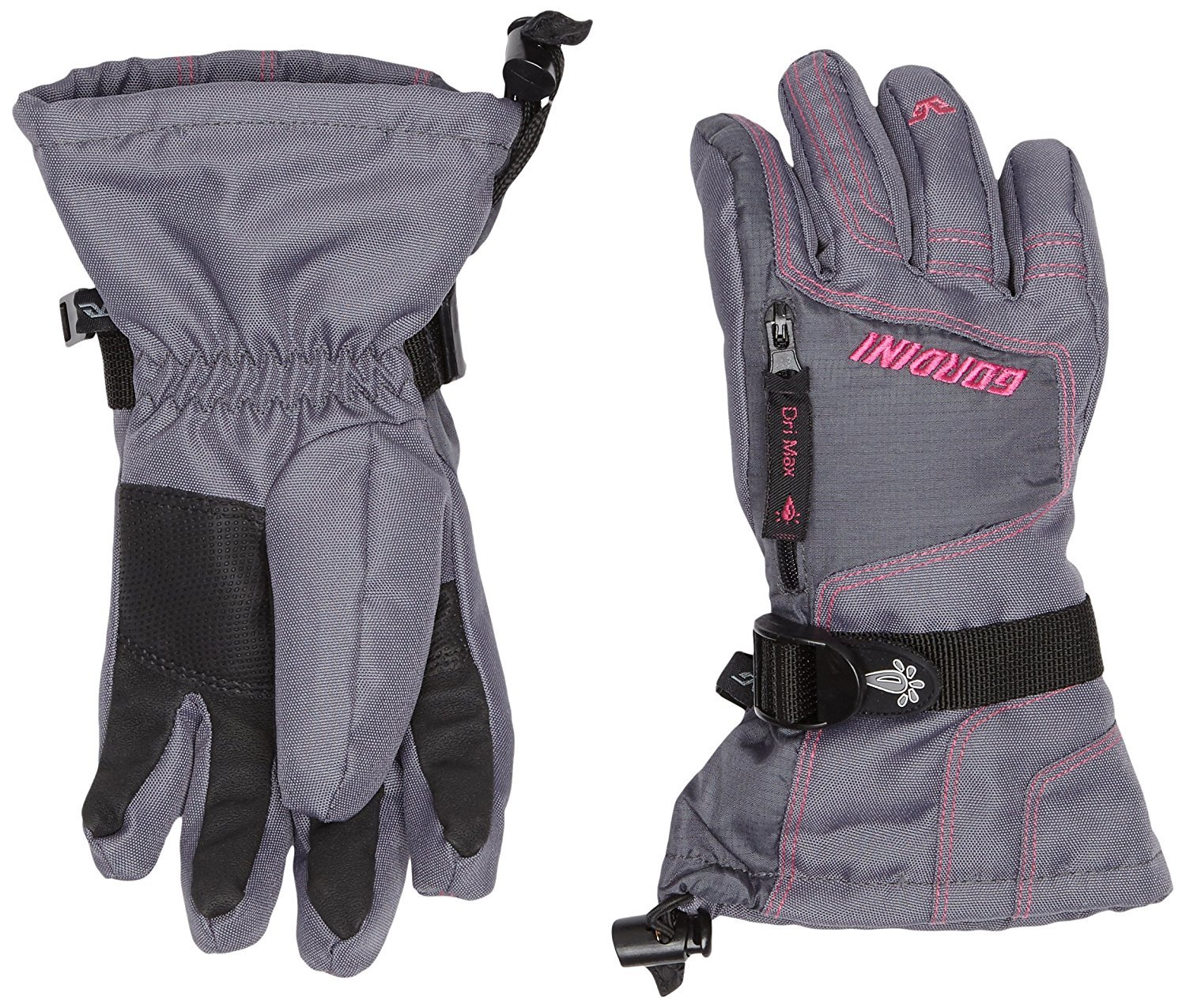 Gordini Junior Ultra Dri-Max Gauntlet Gloves Dark Grey Deep Pink S by GORDINI
