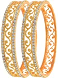 Love Lady Studded Diamond Gold Plated Bangles for Women (Golden) Model No - LOL1111