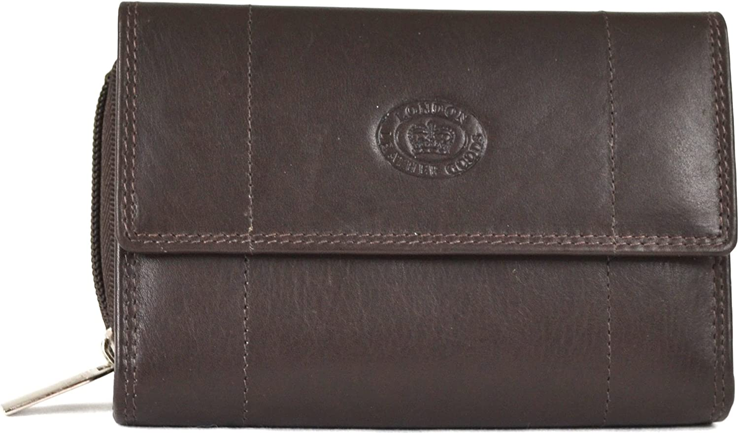 Ladies Soft Nappa Leather Zip-Around Wallet, Double Credit Card Swing Section