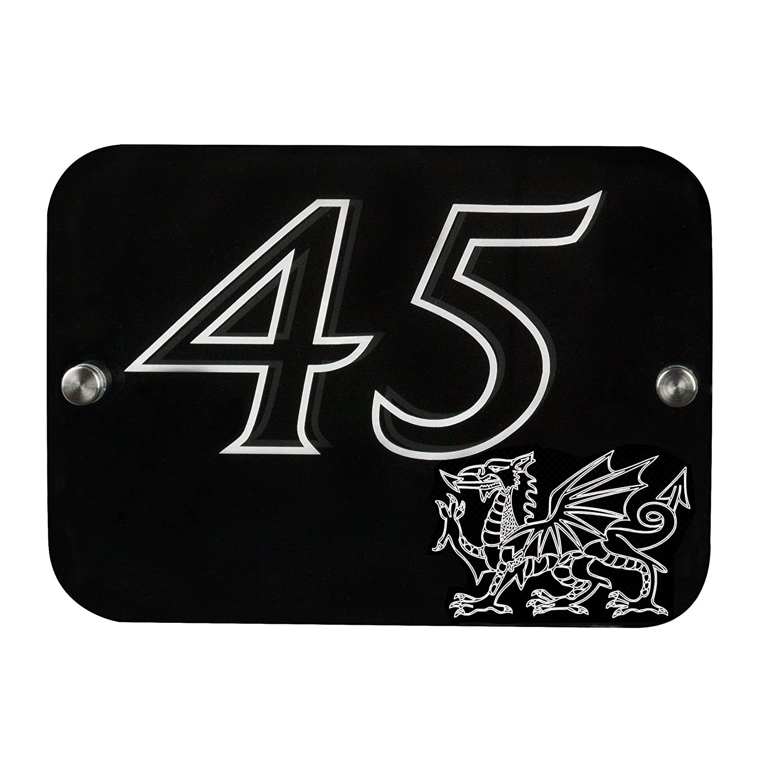 House Sign Number Plaque Custom Made Personalised With Emblem of Red Dragon | 12 Colours | 6 Designs