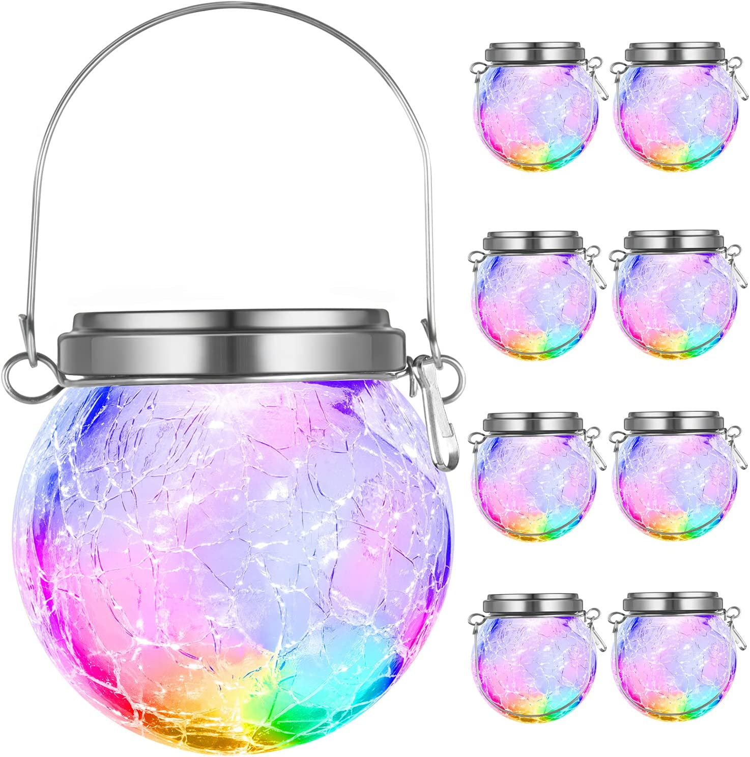 8-Pack Hanging Solar Lights Outdoor with 7 Color Auto-Changing, Decorative Cracked Glass Ball Lights Solar Powered, Globe Lantern Waterproof for Garden, Yard, Patio, Tree, Holiday Decor (Multicolor)