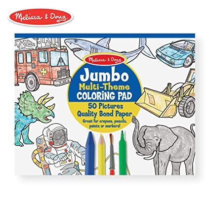 Melissa & Doug Jumbo 50-Page Kids Coloring Pad (High-Quality Paper;  Oversized Sheets; Space, Sharks, Sports, and More)