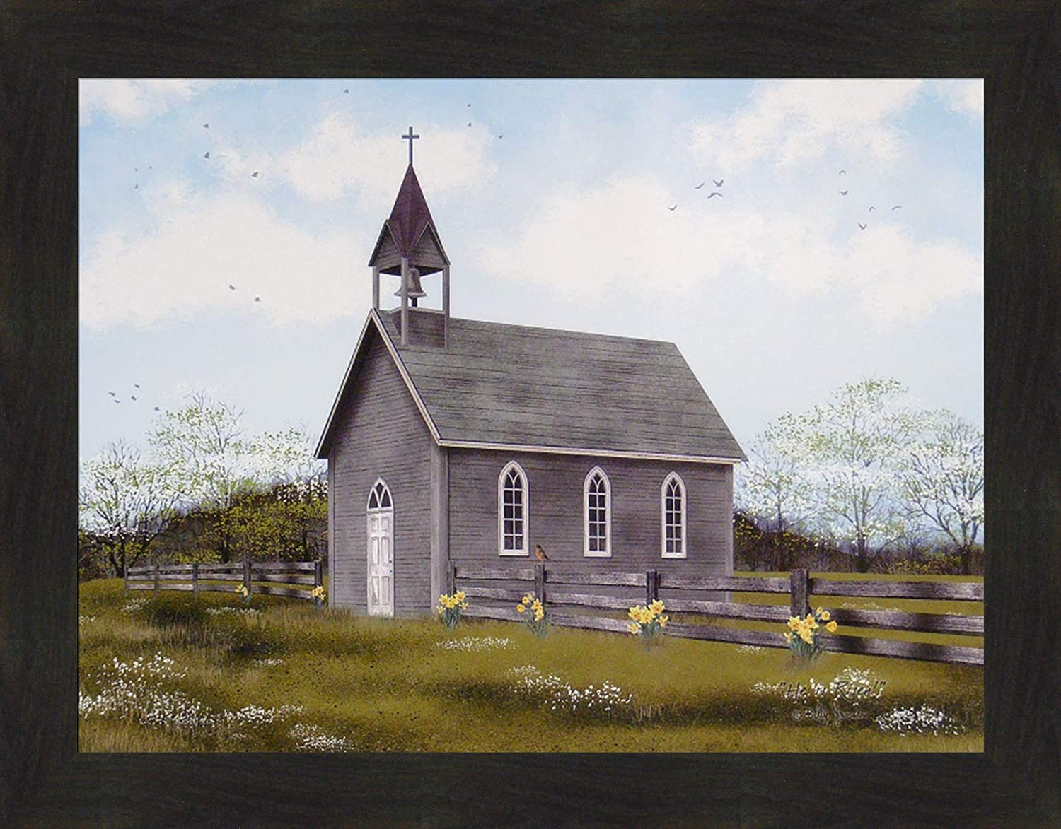Home Cabin Décor He is Risen by Billy Jacobs 22x28 Country Church Cross Steeple Spring Easter Flowers Framed Art Print Picture