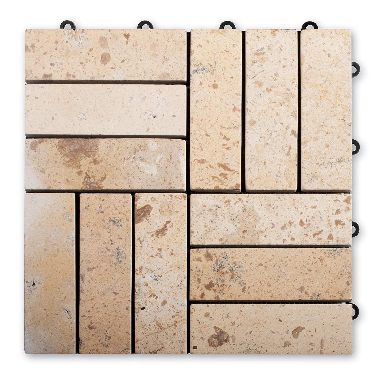 Naturstein Terrassenfliesen Rustique | aus Limestone | praktisches Klicksystem | Anzahl wählbar (16 Stück)