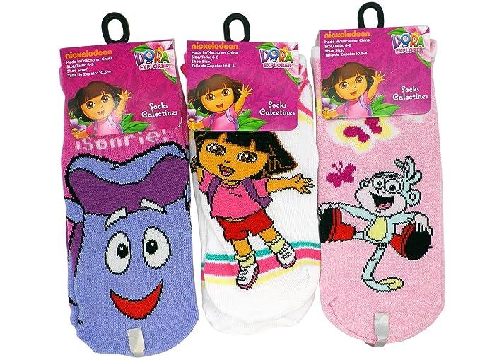 3 Pair Assorted Dora the Explorer Socks (Size 6-8) - Dora the