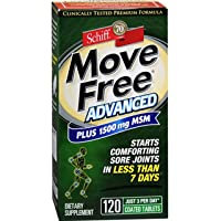 Move Free Advanced Plus MSM Coated Tablets, Joint Health Supplement with Glucosamine and Chondroitin, 120 Count, Pack of 2
