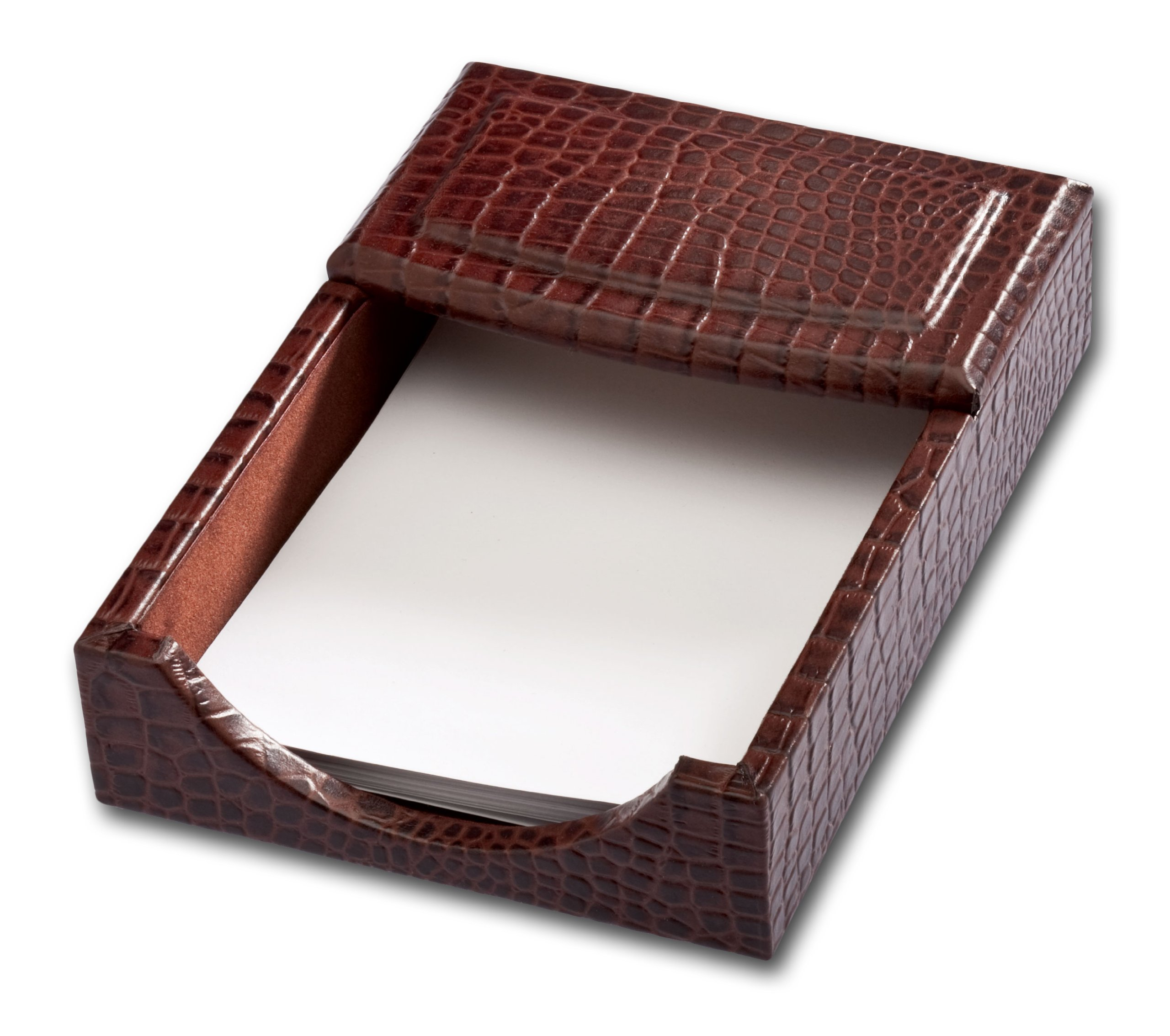 Dacasso Brown Crocodile Embossed Leather Memo Holder, 4-Inch by 6-Inch by Dacasso