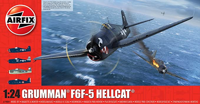 Airfix Grumman F6F-5 Hellcat 1:24 WWII Military Aviation Plastic Model Kit A19004