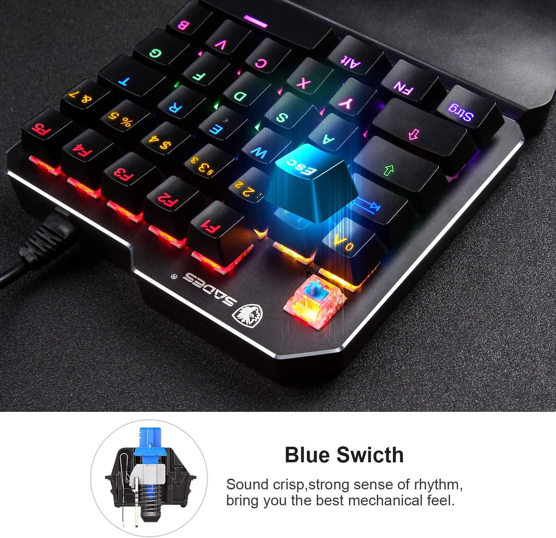 Teclado para juegos Teclado con una mano SADES RGB LED teclado mecánico para PUBG/LOL (DE-TS35-Azul)
