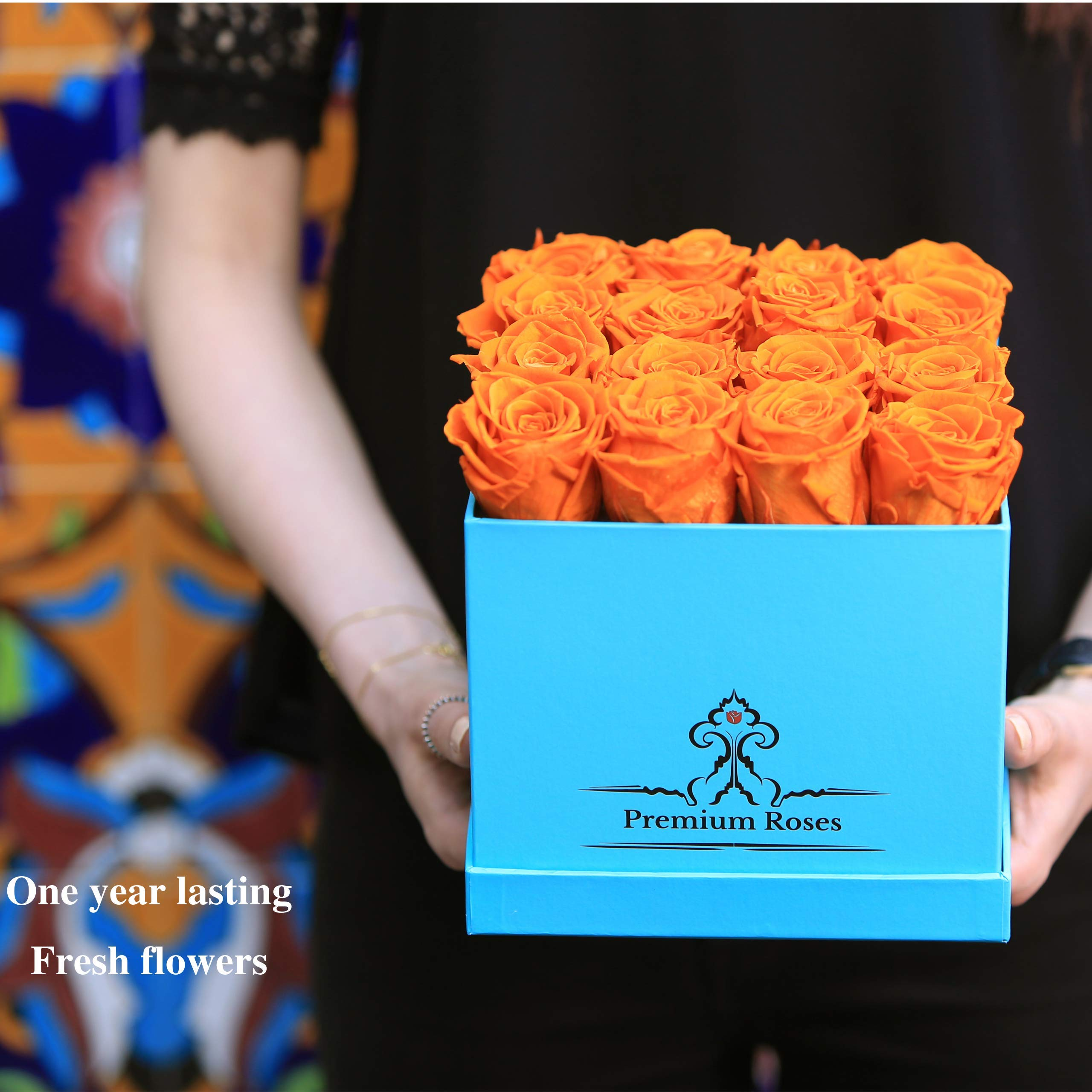 Premium Roses | Model Turquoise| Real Roses That Last 365 Days | Roses in a Box| Fresh Flowers (Blue Box, Medium) by Premium Roses (Image #3)
