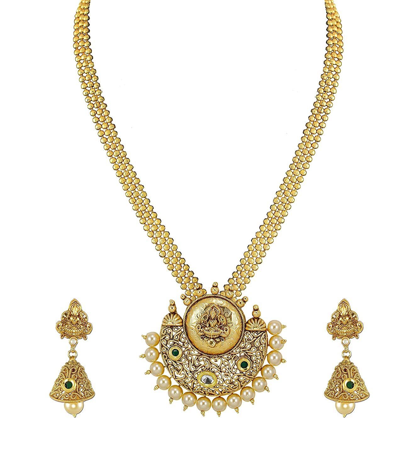 Buy Zaveri Pearls Gold Non-Precious Metal Pendant Necklace With ...
