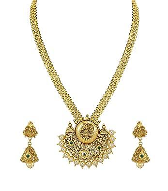 Buy zaveri pearls gold non precious metal pendant necklace with zaveri pearls gold non precious metal pendant necklace with jhumki earring for women aloadofball Image collections