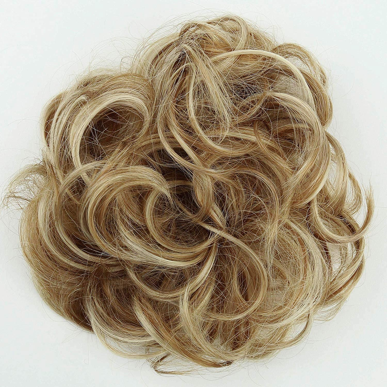 PRETTYSHOP Scrunchy Scrunchie Bun Up Do Hair Piece Hair Ribbon Ponytail Extensions Wavy Messy Gray blond mix # 9//613 G21A