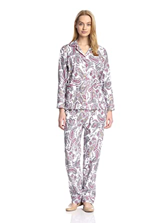 Aegean Apparel Gold Paisley Printed Flannel Pajamas cb1be6e83