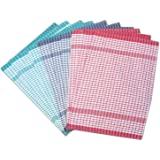 Pack of 10 Wonderdry Checked Kitchen Tea Towels Absorbent Cotton Catering Cloths