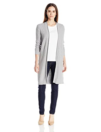 9636c890163 Foxcroft Women's Long Sleeve Mix Stitch Duster Cardigan Sweater at ...