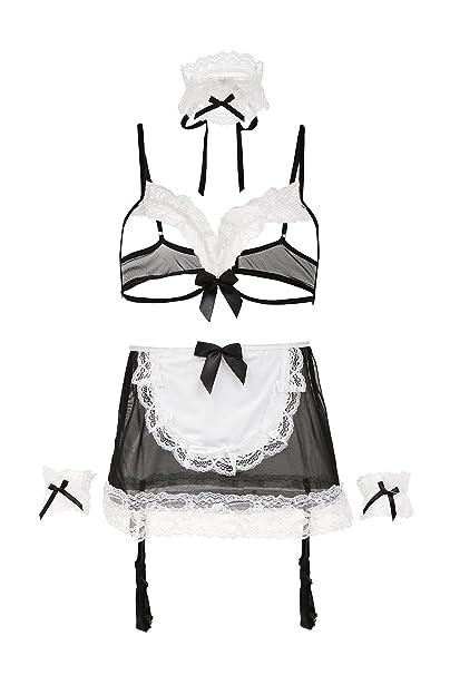 8c8f4bfc01 AMORETU Ropa Interior para Mujer Disfraz Interior Atractiva del de  sirvienta Cupless Costume  Amazon.es  Ropa y accesorios