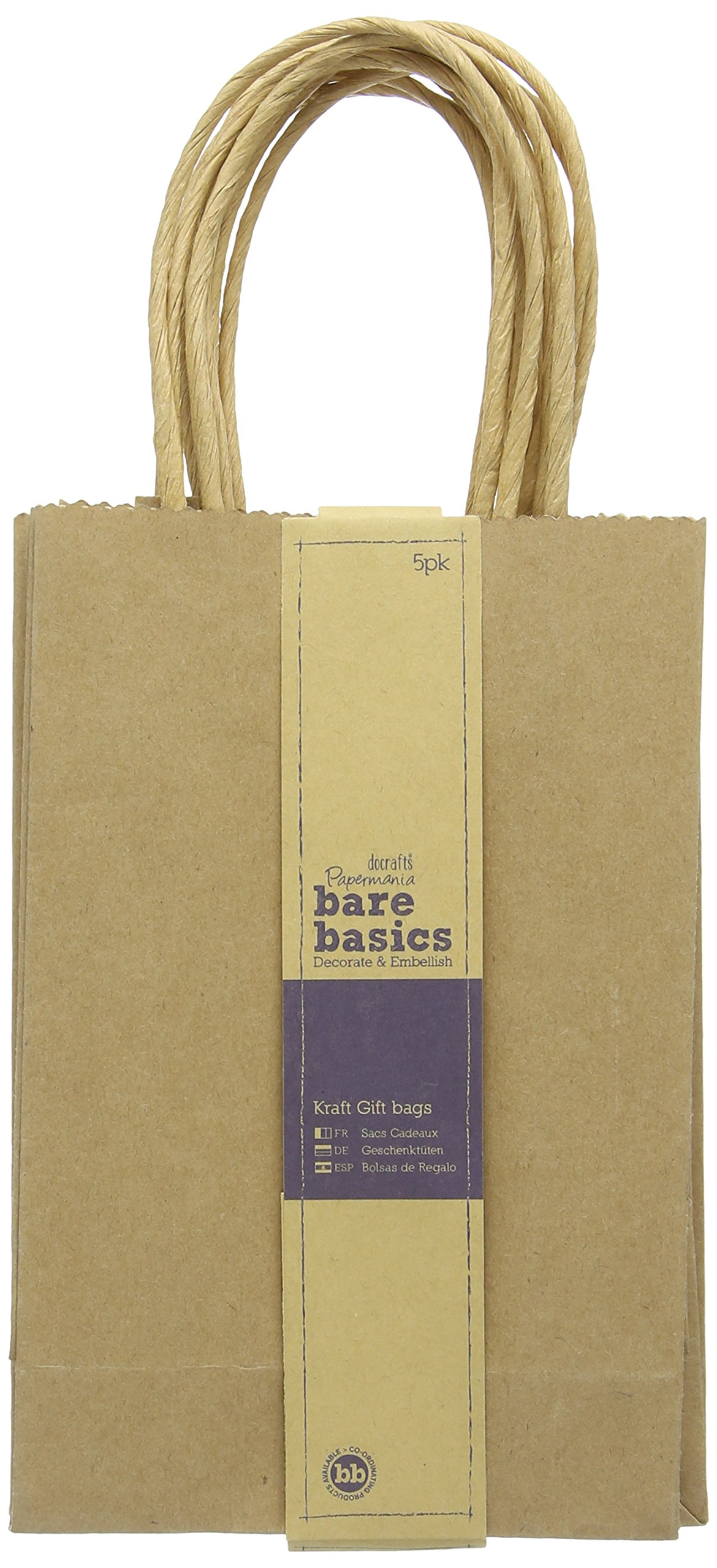 Plain gift bags amazon docrafts papermania bare basics pack of 5 kraft gift bags small negle Images